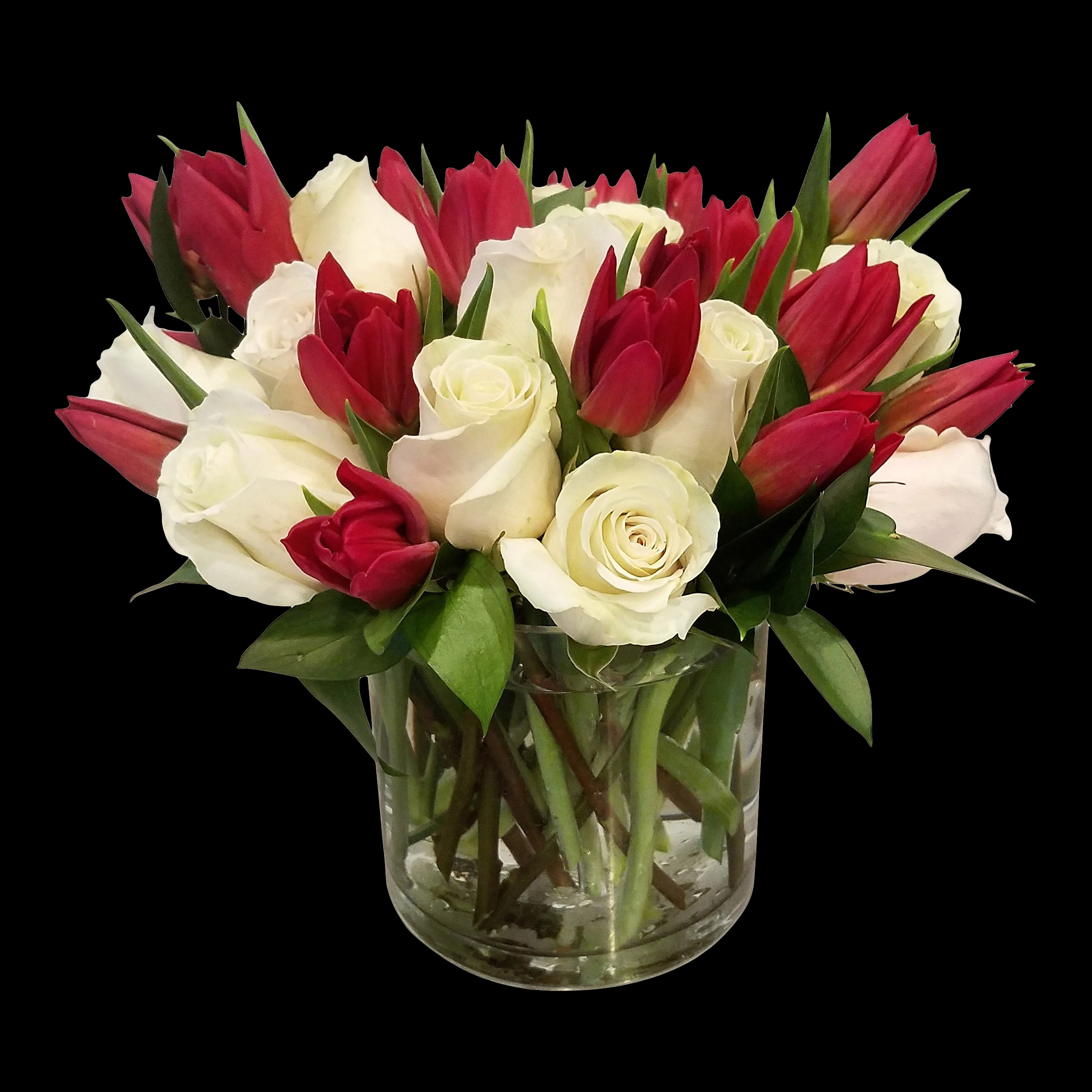 White Roses And Red Tulips The Flower Shop