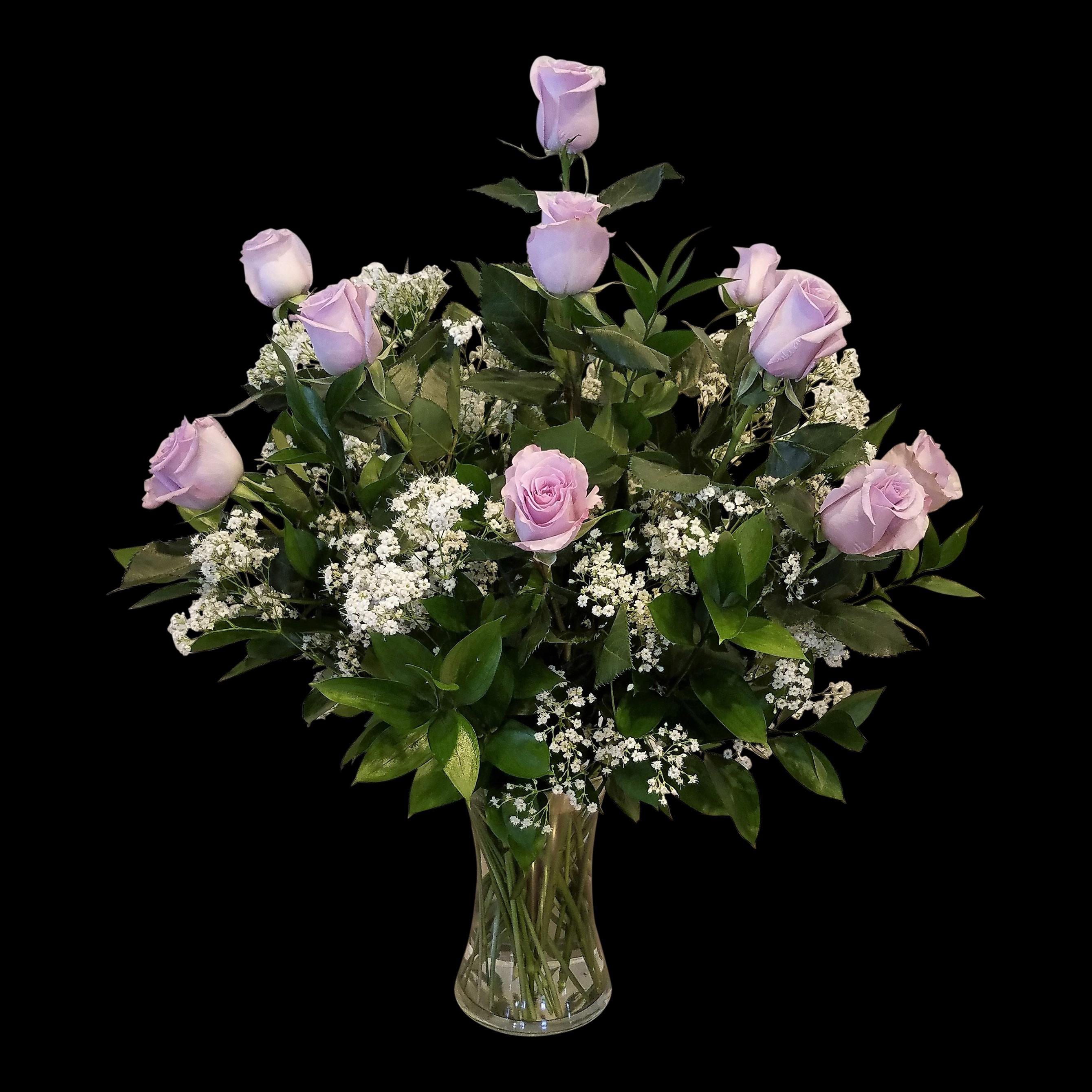 Lavender Roses 1 Dozen Vased The Flower Shop